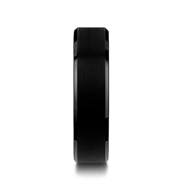 Black Tungsten Wedding Band Polished Beveled Edges & Brushed Finish 6Mm - 10Mm - Tungsten