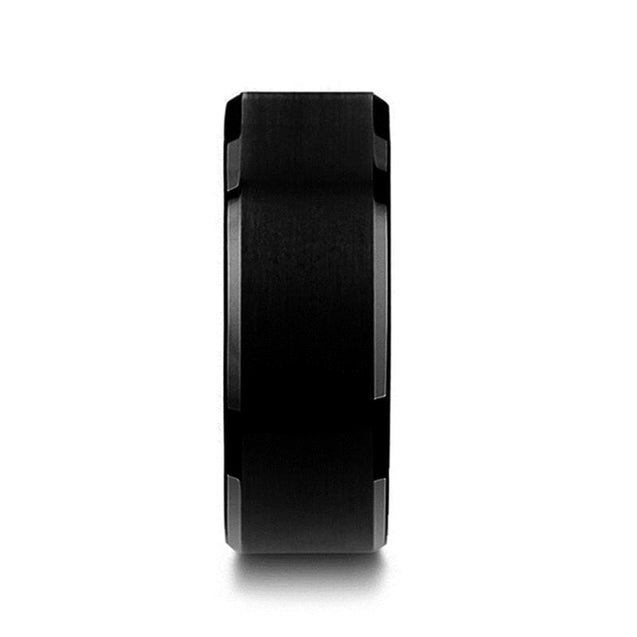 Black Tungsten Wedding Band Polished Beveled Edges & Brushed Finish 6mm - 10mm