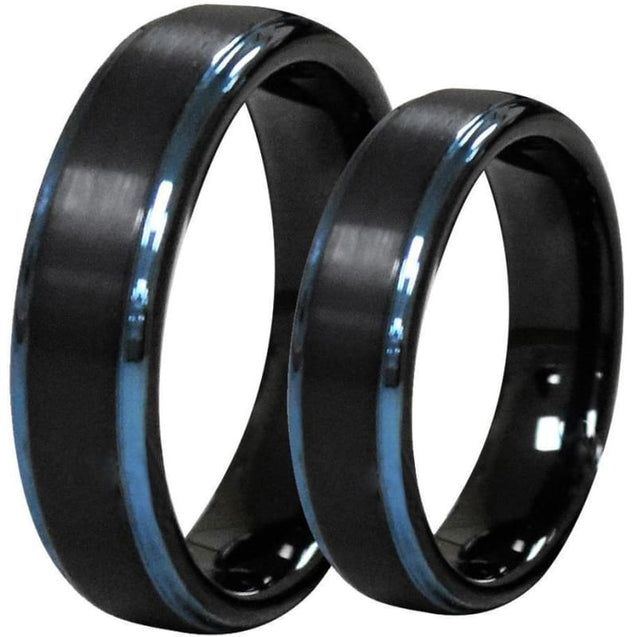 Black Tungsten Wedding Band Set With Ion Plated Blue Stepped Edges - 6mm & 8mm