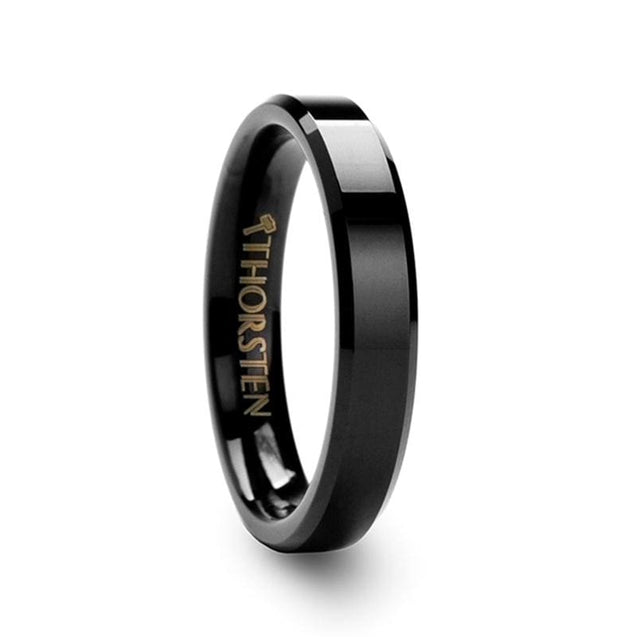 Black Tungsten Wedding Band with High Polish Finish & Beveled Edges  4mm - 12mm