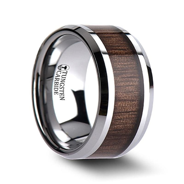 Black Walnut Wood Inlaid Extra Wide Tungsten Wedding Band Beveled Edges - 12mm