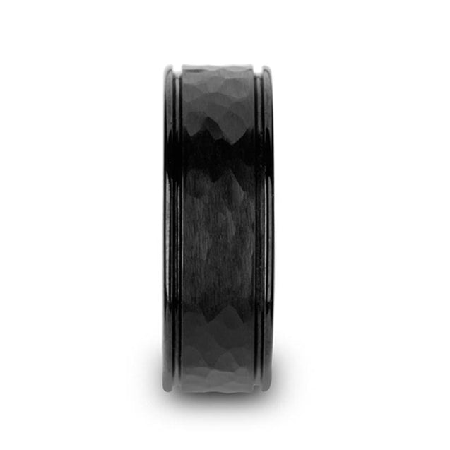 BLAKE Hammered Center Black Ceramic Ring with Dual Offset Grooves - 6mm & 8mm