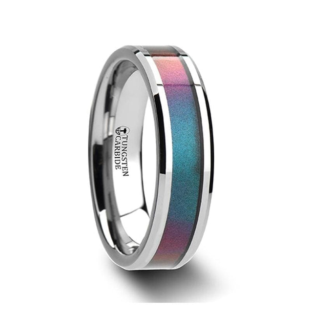 Blue & Purple Color Changing Inlay Tungsten Carbide Ring Beveled Edges 4mm - 10mm