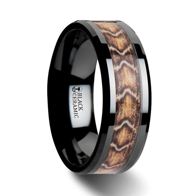 Boa Snake Skin Design Inlay Beveled Black Ceramic Men's Wedding Band - 8 mm