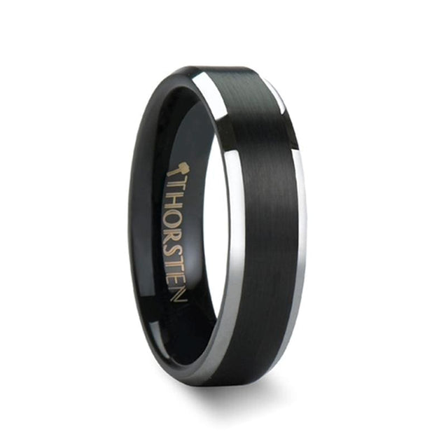 Brushed Center Black Tungsten Wedding Ring W/ Polished Beveled Edges - 4mm - 10mm