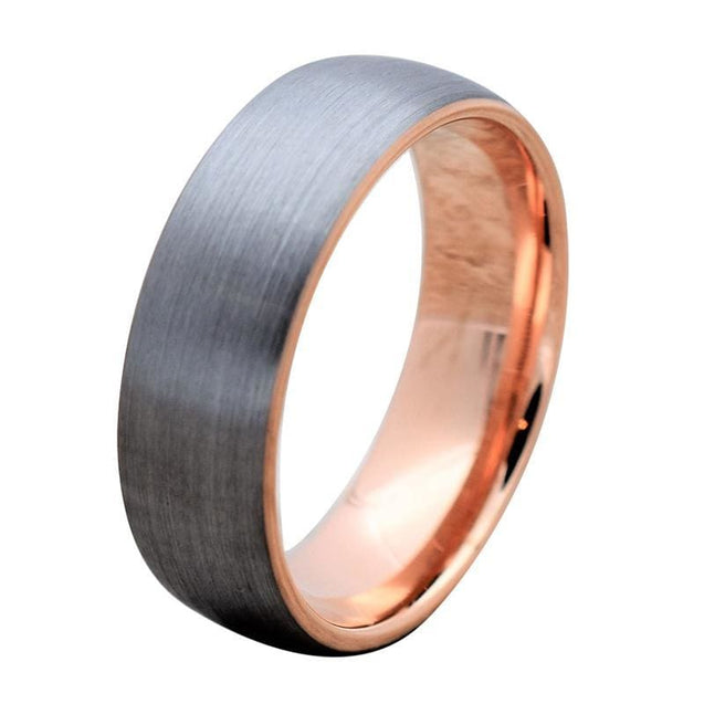 Brushed Finish Domed Tungsten Carbide Ring with Rose Gold Inlaid Inside - 8mm