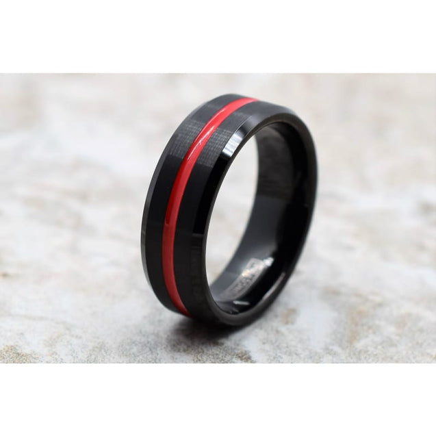 CAESAR Black Tungsten Carbide Wedding Ring With Grooved Red Stripe 6mm & 8mm