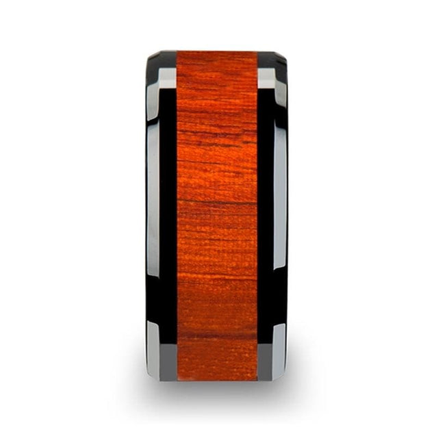 CAINE Men's Beveled Black Ceramic Ring with Genuine Padauk Inlay - 10 mm