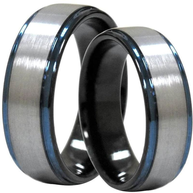 Calantha Tungsten Ring Raised Brushed Center and Stepped Blue Edges - 6mm & 8mm