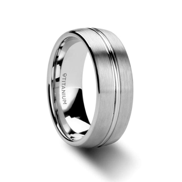 CALEB Brushed Finish Men's Titanium Wedding Ring W/ Polished Grooved Center - 8mm