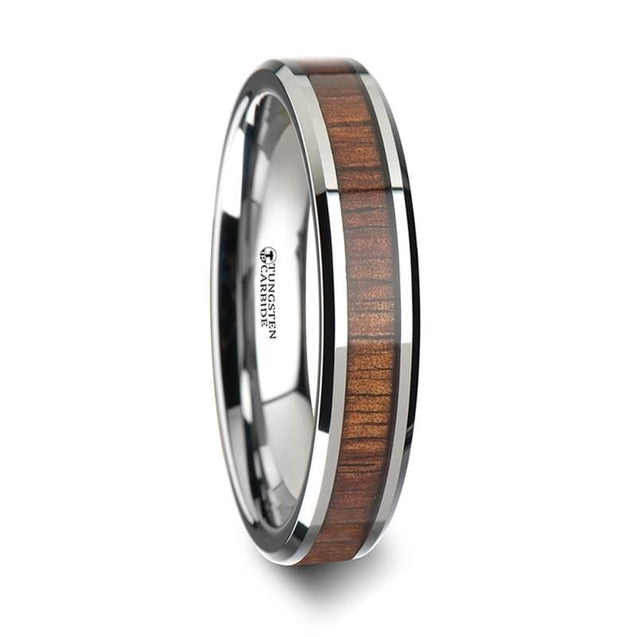 Carbide Tungsten Ring Inlay W/ Koa Wood Bevels - 4mm