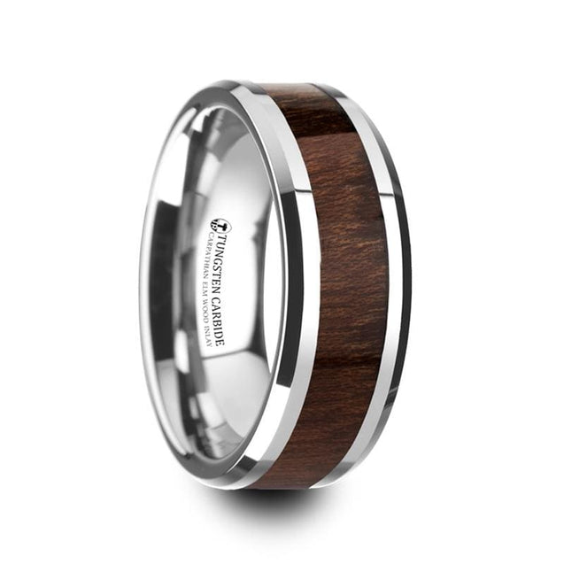 Carpathian Wood Inlaid Tungsten Ring with Beveled Edges - 6mm & 8mm