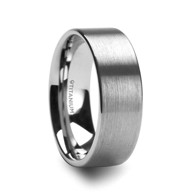 CAYDEN Flat Brushed Finish Titanium Men's Wedding Ring - 8mm