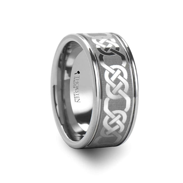 Celtic Laser Engraved Men's Extra Wide Flat Tungsten Wedding Band - 10 mm