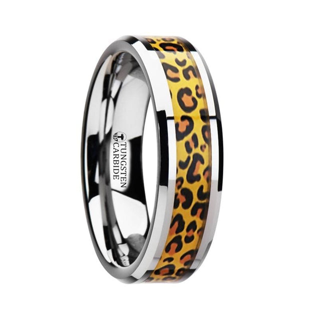 Cheetah Print Animal Design Inlaid Tungsten Wedding Ring  - 6mm & 8mm