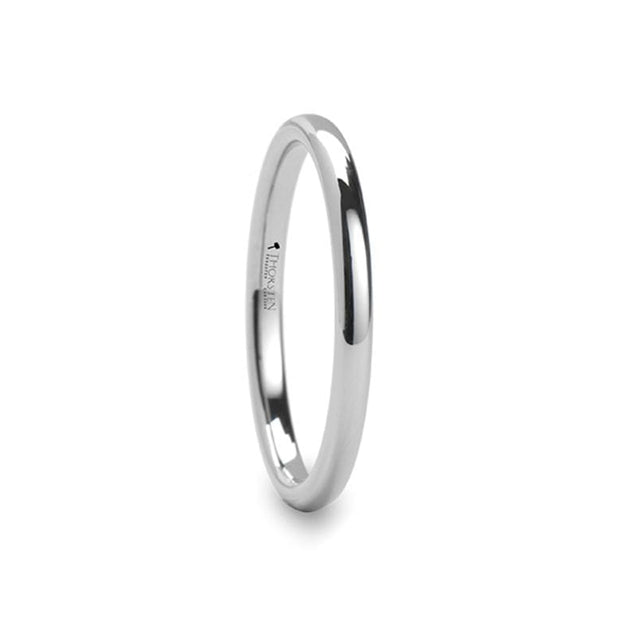 Classic Domed White Tungsten Carbide Wedding Band Ring - 2mm - 12mm