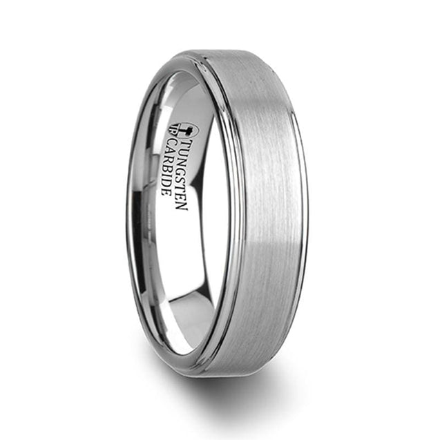 Classic  Style White Tungsten Wedding Band Raised Brush Finished Center - 6mm - 8mm