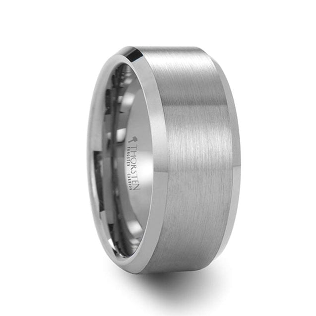 Classic Tungsten Carbide Wedding Band w/ Brushed Center & Beveled Edges 4mm - 12mm