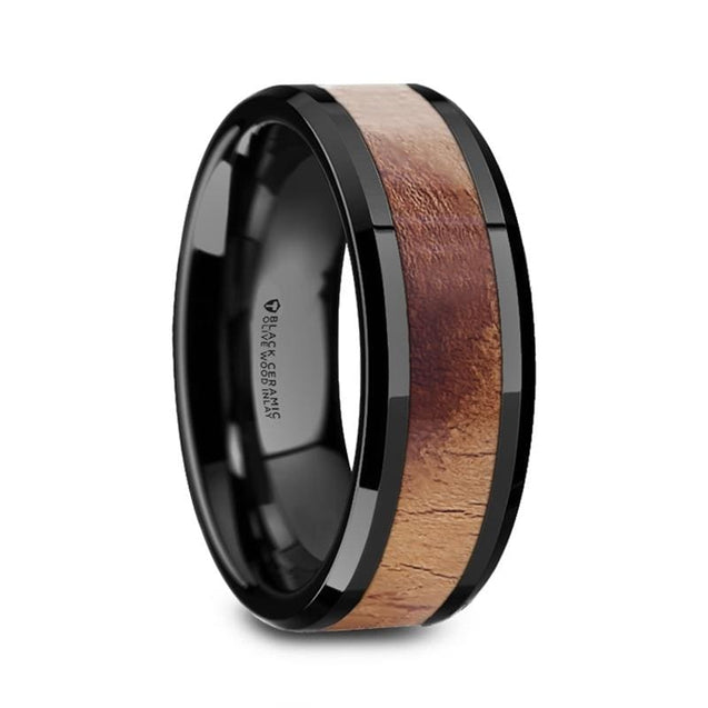 COLE Black Ceramic Men's Wedding Band with Olive Wood Inlay Beveled Edges - 8mm