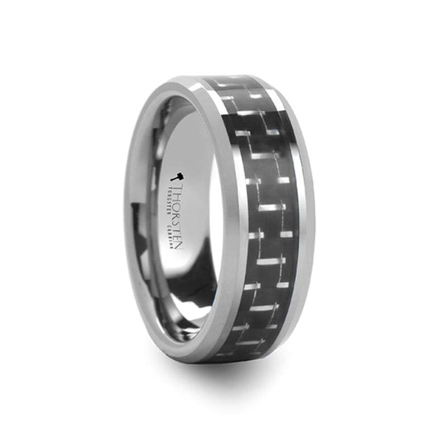 Comfort Fit Black and Silver Carbon Fiber Inlaid Tungsten Wedding Band  - 8mm