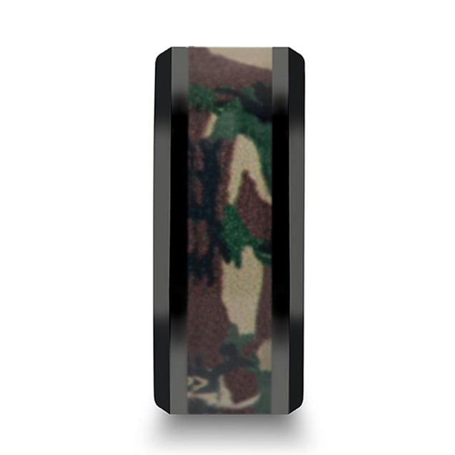 COOPER Military Style Jungle Camo Inlaid Black Ceramic Men's Ring - 10mm