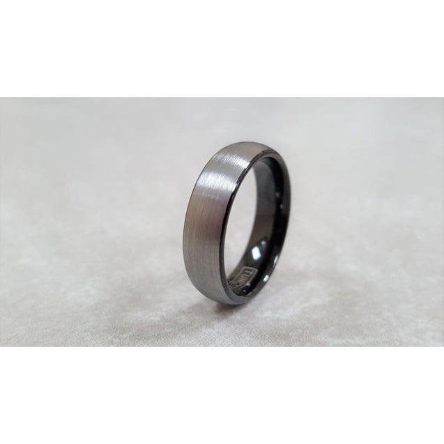 Curved Tungsten Ring With Ion Plated Black Inside and Brushed Finish 6mm & 8mm
