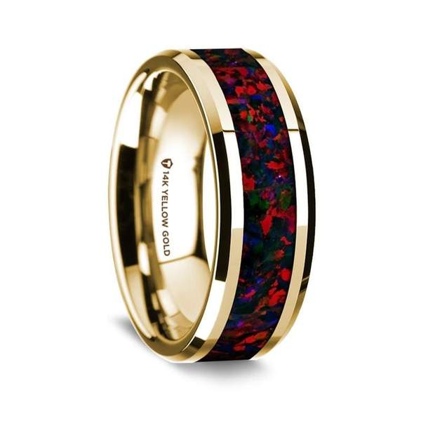 Beveled Men's 14K Yellow Gold Wedding Ring with Black and Red Opal Inlay - 8 mm