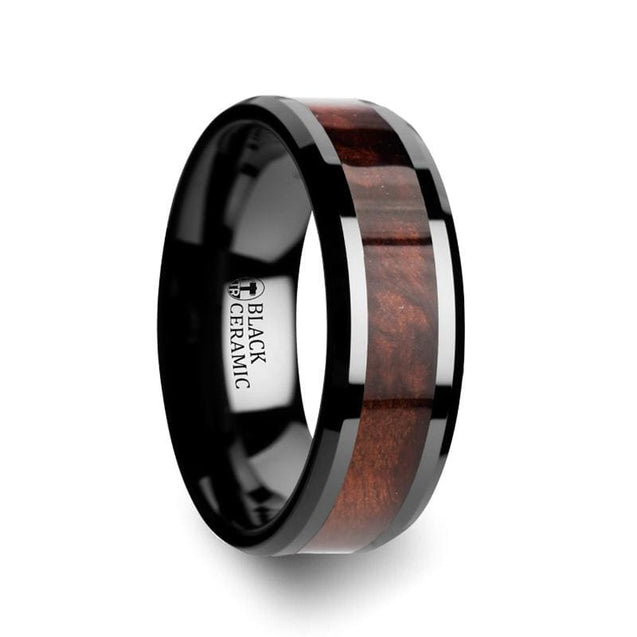 DAISUKE Men's Black Ceramic Ring with Genuine Redwood Inlay - 8mm