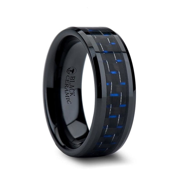DALLAS Beveled Black Ceramic Ring with Blue & Black Carbon Fiber Inlay - 4mm - 10mm