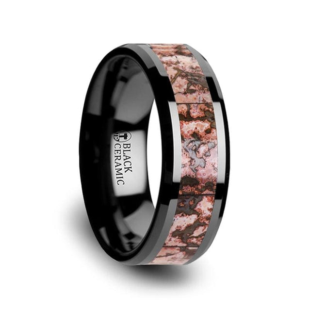 DAMANI Black Ceramic Beveled Edged Ring with Pink Dinosaur Bone Inlay - 8mm