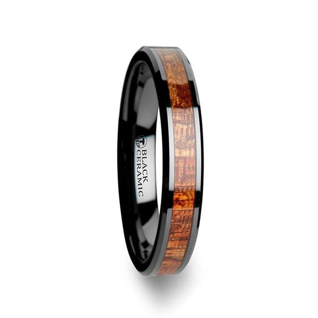 DANAE Exotic Mahogany Hard Wood Inalid Black Ceramic Band Polished 4mm - 10mm