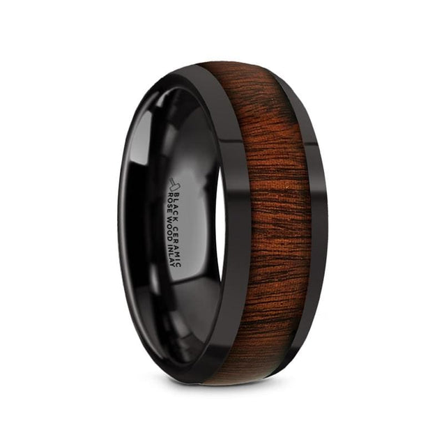 DAVE Polished Domed Black Ceramic Men's Wedding Ring with Rose Wood Inlay - 8mm