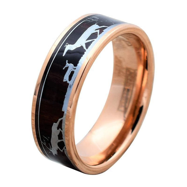 DEION Rose Gold Tungsten Ring With Deer Family Laser Engraved & Koa Wood Inlay - 8mm