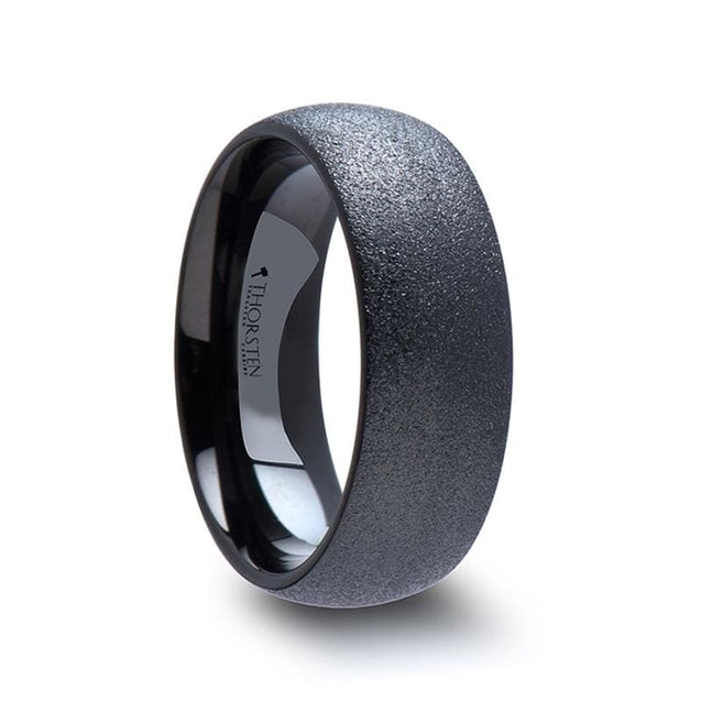 Domed Black Tungsten Carbide Ring with Sandblasted Crystalline Finish - 4mm & 8mm