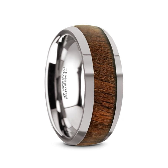 Domed Exotic Black Walnut Wood Inlaid Men's Tungsten Wedding Ring Polished - 8mm
