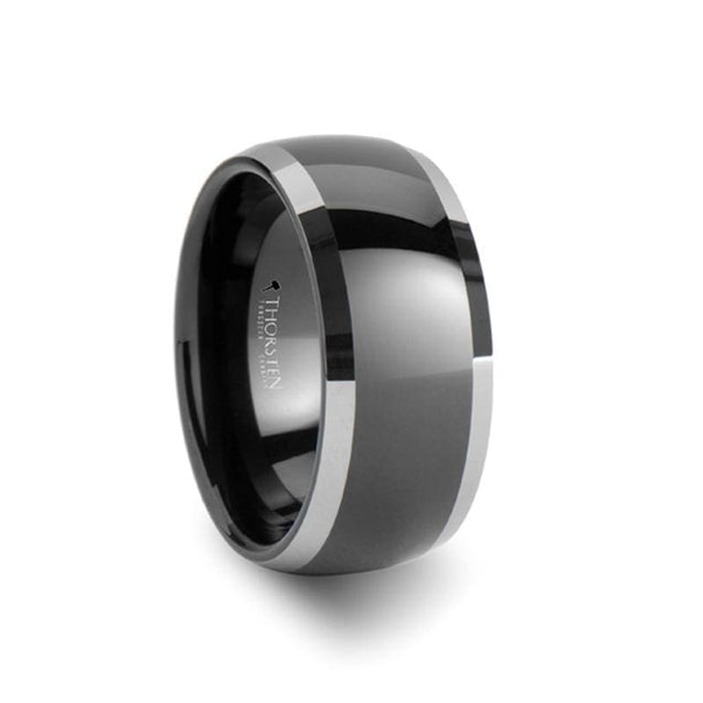 Domed Extra Wide Black Tungsten Wedding Men's Band with Polished Edges - 10mm
