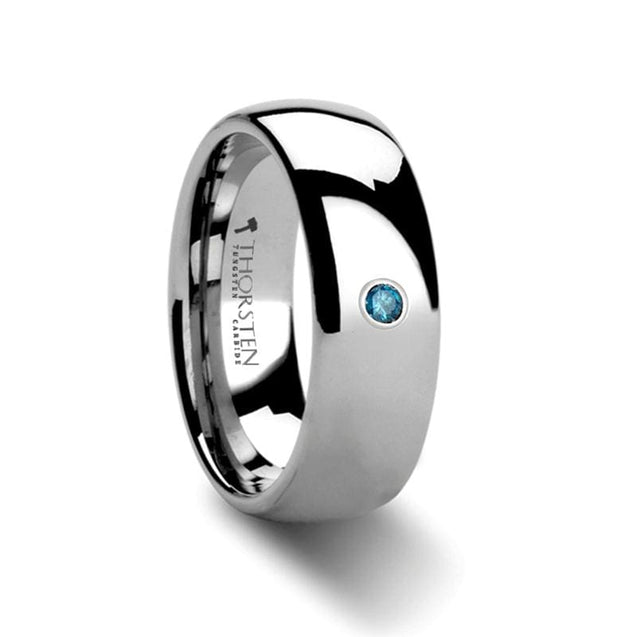 Domed Men's Tungsten Carbide Ring With Blue Diamond Setting - 8 mm
