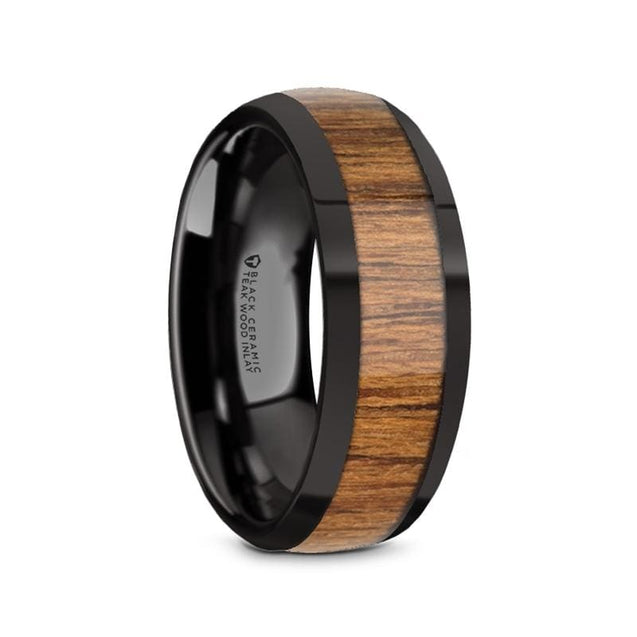 Domed Polished Edges Black Ceramic Men's Wedding Ring with Teak Wood Inlay - 8mm
