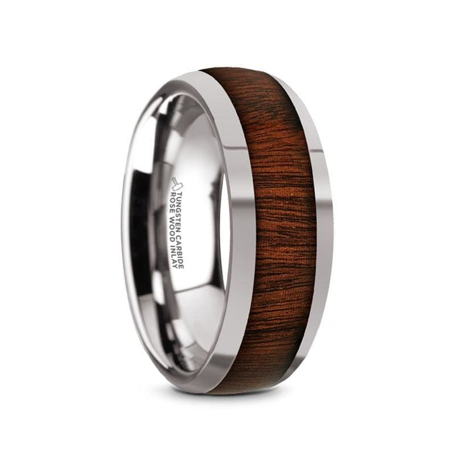Domed Polished Finish Mens Tungsten Carbide Ring With Rose Wood Inlay- 8Mm - Tungsten