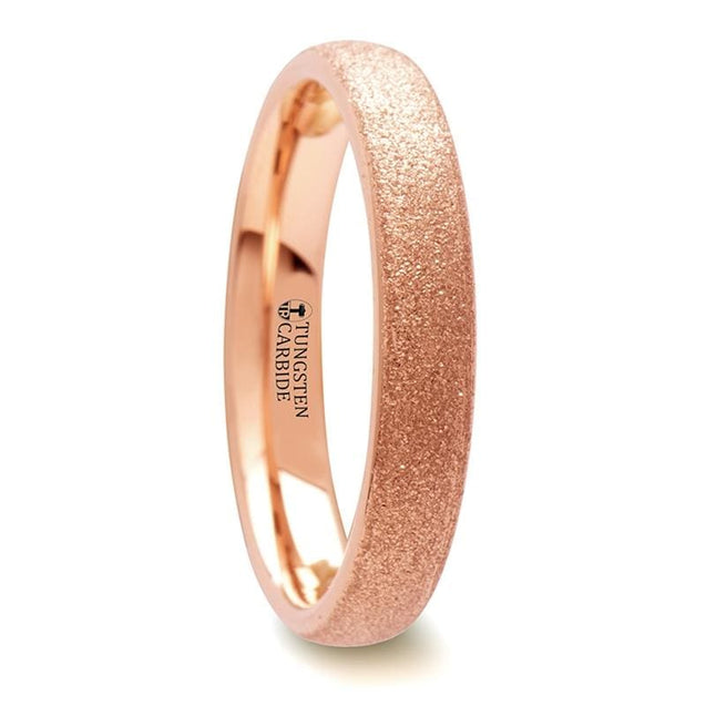 Domed Rose Gold Inlaid Tungsten Carbide Ring with Sandblasted Crystalline Finish - 4 mm