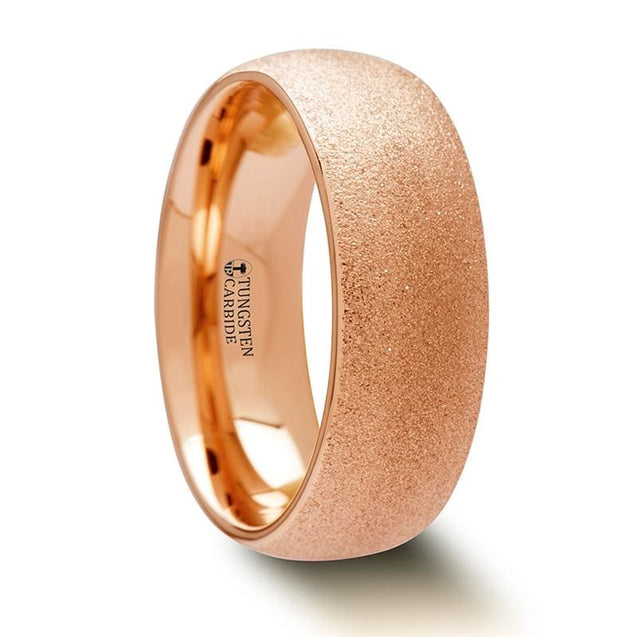 Domed Rose Gold Plated Tungsten Ring with Sandblasted Crystalline Finish  2mm - 8mm