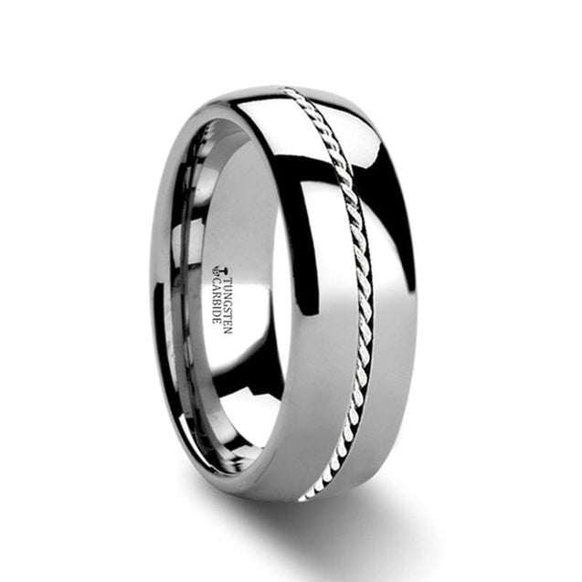 Domed Tungsten Carbide Ring with Braided Palladium Inlay High Polish - 6mm & 8mm