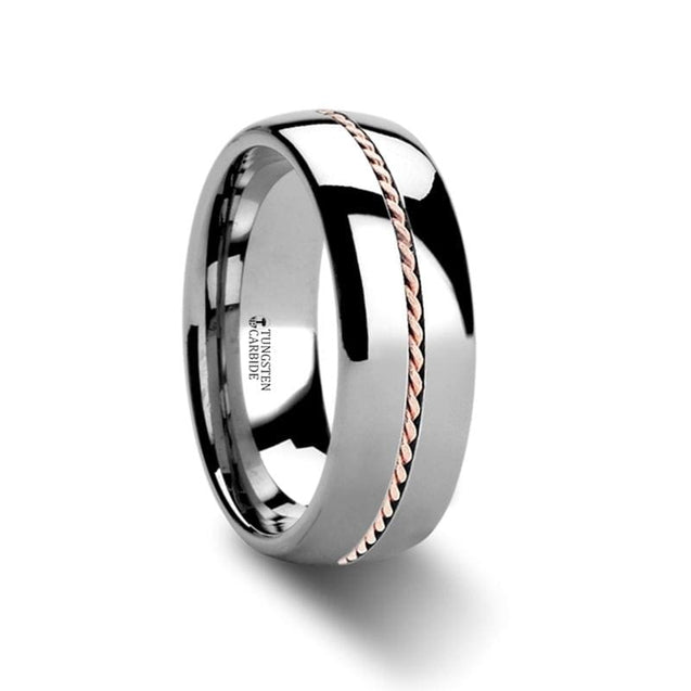Domed Tungsten Carbide Ring with Braided Rose Gold Inlaid Center - 6mm & 8mm