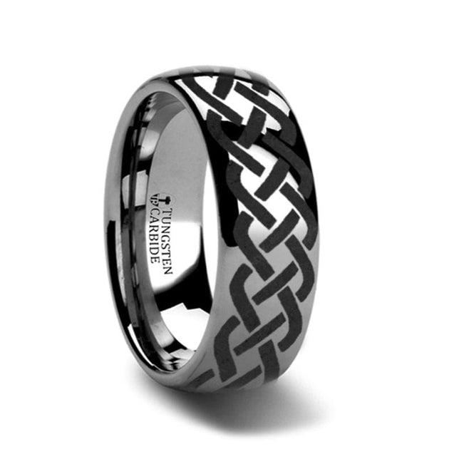 Domed Tungsten Carbide Wedding Ring with Celtic Knot Design - 4mm - 12mm