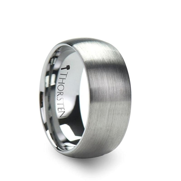 Domed W/ Brushed Finish Tungsten Men's Wedding Band Extra Wide - 10 mm