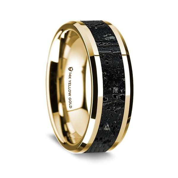 14K Yellow Gold Men's Wedding Ring with Lava Rock Inlay Beveled Edges - 8 mm