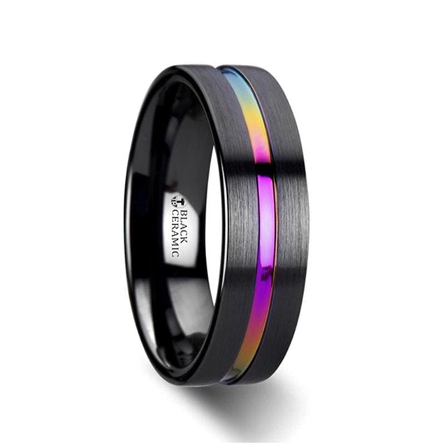EDOLIE Black Ceramic Wedding Ring with Rainbow Grooved Center Flat Style 4mm - 8 mm