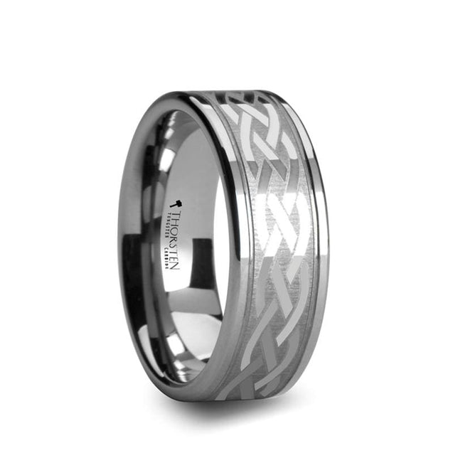 Elegant Style Flat Dual Offset Grooved Tungsten Ring Celtic Design - 8 mm & 10 mm