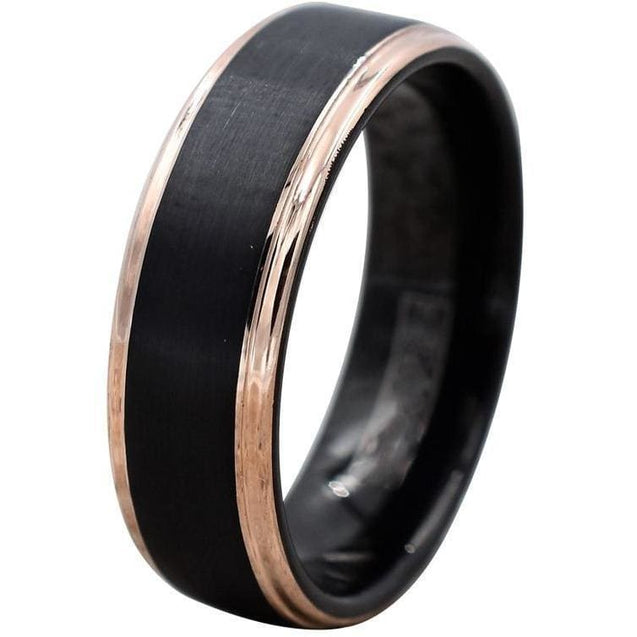 EROS Black Brushed Tungsten Ring With Rose Gold Stepped Edges 6mm & 8mm