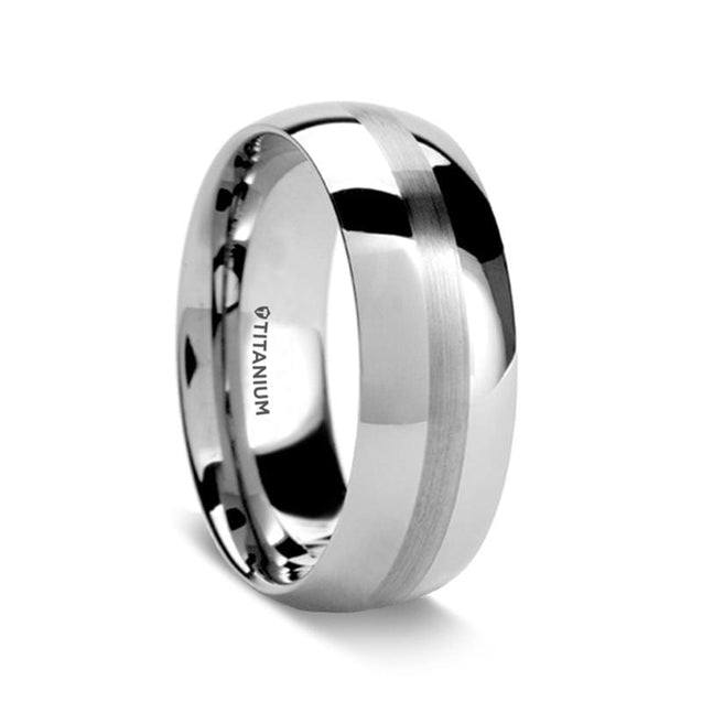 ETHAN Domed Titanium Men's Wedding Ring with Brushed Stripe - 8 mm